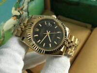 New Swiss Men's Rolex Oyster Datejust Perpetual Automatic Watch, golden case Black Dial