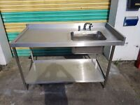COMMERCIAL STAINLESS STEEL SINGLE BOWL SINK WITH TAPS kitchen sink