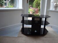 Black Smoked glass Tv stand