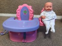 Pink Children's Booster High Chair with Doll Companion Accessory