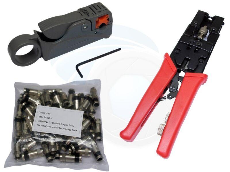 50pcs RG6 Coax Compression Connectors Crimping Tool Cable Stripper