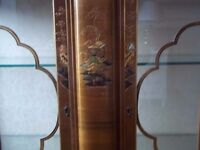 50's Wood display cabinet with glass shelving with Oriental decoration