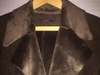 Zara Maxi Faux Sheepskin Panelled Winter Ladies Dark Brown Coat. Size M. Like new