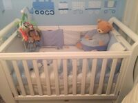 New Boori Country Royale cot bed with full size drawer n new mattress from John leaves