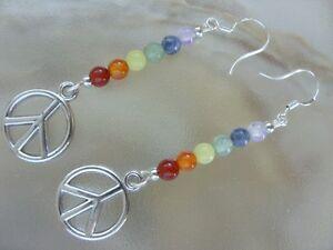 Coole 15 mm Peace Hippie Edelstein Regenbogen Ohrhänger Ohrringe Earrings