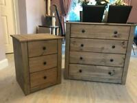 Chest of drawers and bedside table solid Pine wood