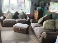 3+2 Seater Sofas by Halo, including Footstool. Tan Leather Base and Beige Fabric Seating.