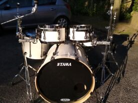 Tama Superstar Hyperdrive 5pc White drum kit including hardware and cases