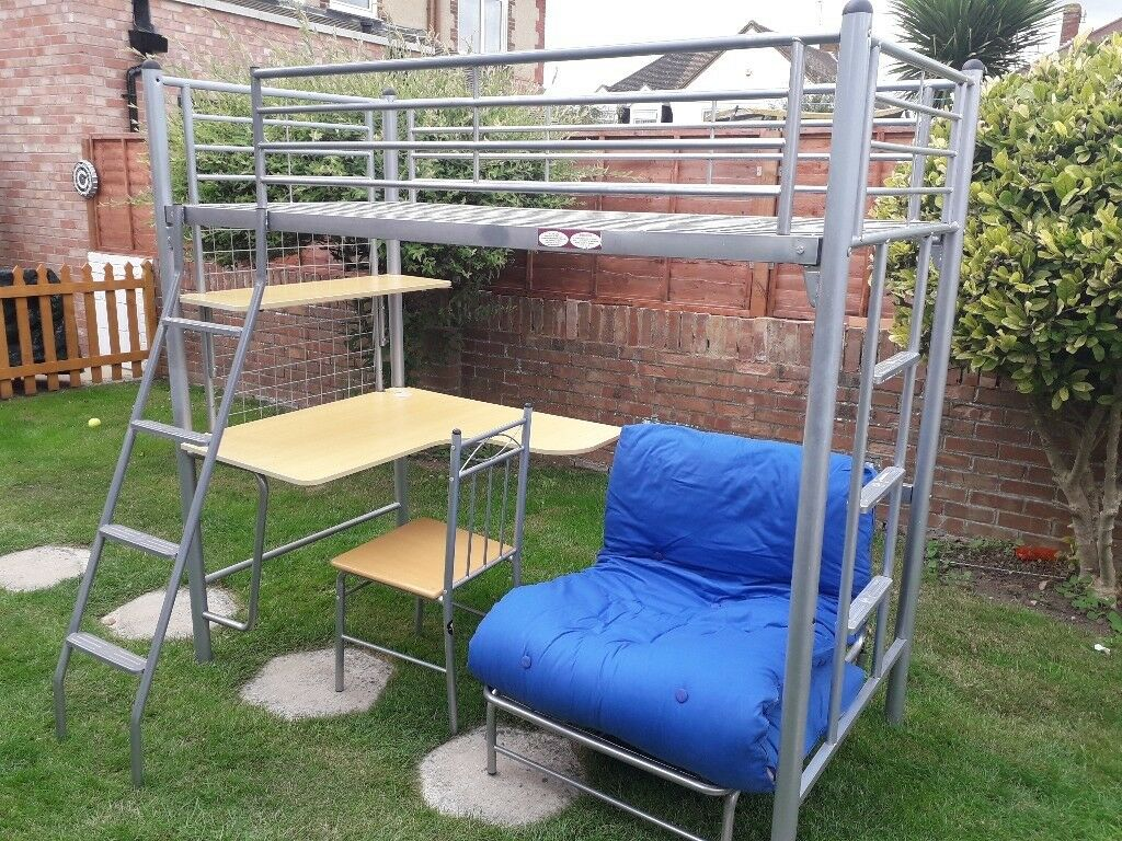 Childrens High Sleeper Bed Riser Metal Loft With Futon Guest And Desk Chair Shelf In Portsmouth Hampshire Gumtree