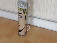 MAISONS DU MONDE Porcelain Stacking Mug Set (4).