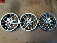 3 Unused Alloy Wheels 18 inch diameter and 8 inches wide.