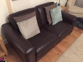 NEXT BROWN ITALIAN LEATHER SUITE 2 & 3 SEATER ***RRP £1800.00**