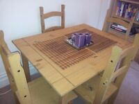 Beech Dining table with 4 chairs