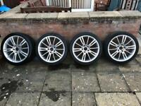 "Genuine Bmw m sport mv3 18"" alloys with 4 good tyres"