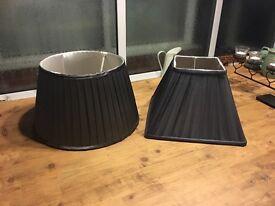 Charcoal gray silk lampshades