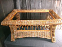 wicker coffee table with bevelled glass top