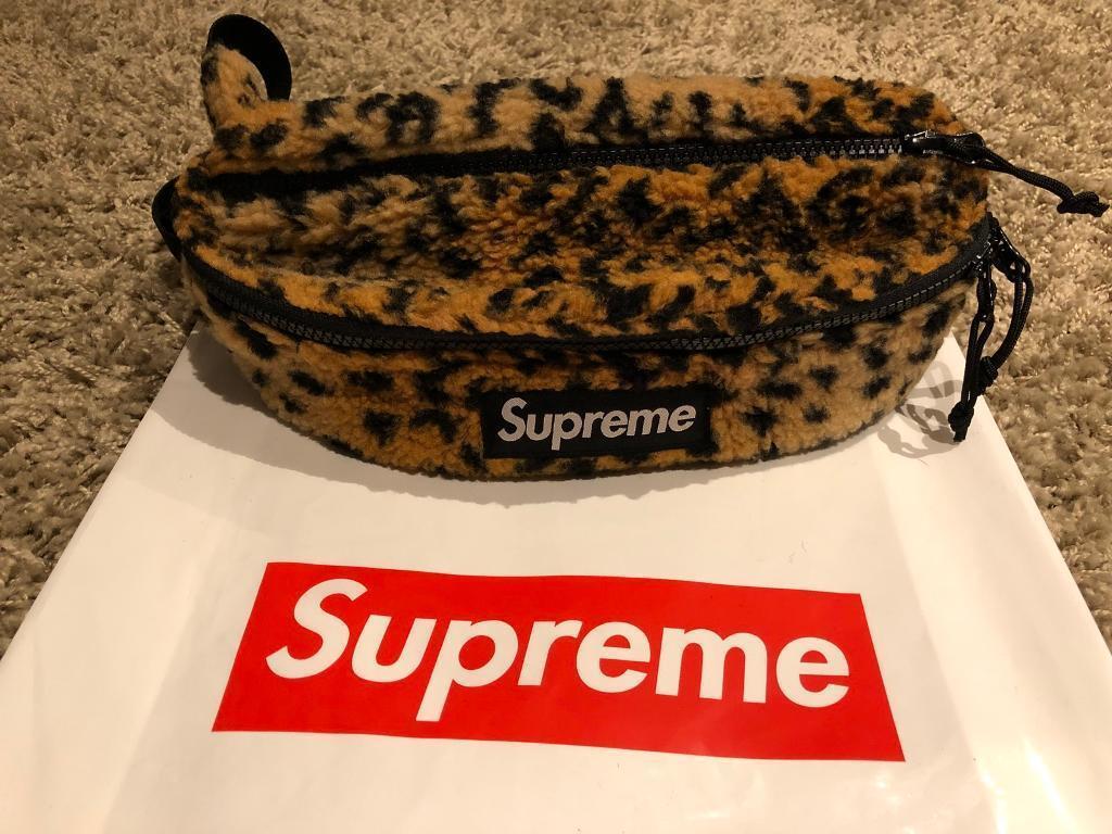 aa9362308ff5 Supreme leopard fleece waist bag