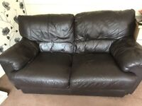 FURNITURE VILLAGE BROWN LEATHER 3+2 SEATER SOFAS - MUST GO ASAP - CHEAP DELIVERY - £295