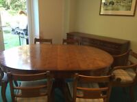 Bevan Funnell reprodux extendable dining table, 6 chairs and sideboard.