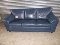 Natuzzi Italian Blue Leather 3+2-seater Suite