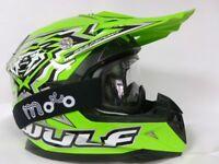 WULFSPORT FLITE- XTRA KIDS Cub MOTOCROSS GREEN HELMET+ green GOGGLES+Gloves