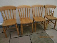 4 Kitchen Beechwood Chairs in 2 Designs