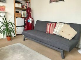 Couch Sofa Bed Stylish Grey Linen Fabric - Almost New!