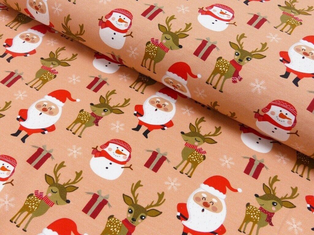 Weihnachts Stoffe Jersey & Baumwolle & Sweat / 28 Motive Meterware Weihnachten Jersey Weihnachtszeit apricot