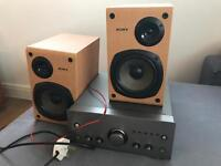 Wharfedale S-991 amplifier and Sony speakers
