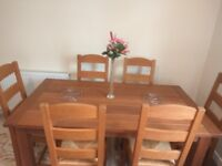 Dining Table with 6 Chairs - Solid Wood (used 2 months)