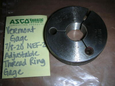 Vermont Gage 78-20 Nef-2 Adjustable Thread Ring Gage Not Go Pd. 0.8378 Used
