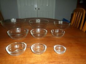 Duralex Glass Bowls - Nest of 9 Various Sizes - Made in France