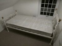 White Metal Framed Single Bed and Mattress