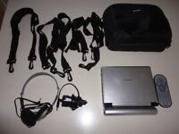 Portable DVD Player by Philips and Car Kit Ideal for Travel or Home Use