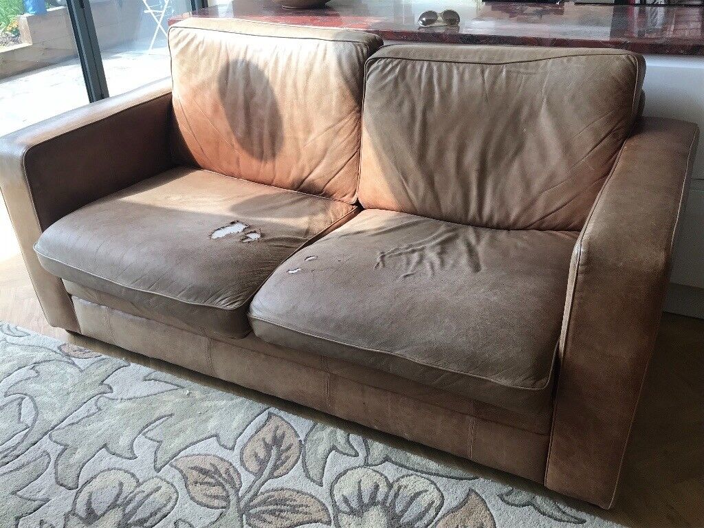 Vintage style leather sofa | in Knowle, West Midlands | Gumtree