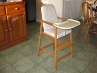 Child's High Chair timber frame and upholstered seat
