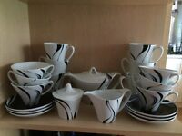 Black & White Jazz Pattern Art Deco Style Tea Set and Matching Mugs
