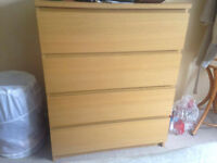 IKEA white stained oak veneer chest of drawers