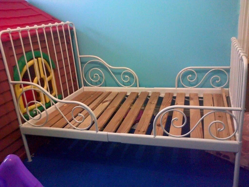 2 Extendable White Metal Frame Ikea Toddler To Single Beds