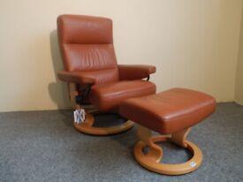 Ekornes Stressless Atlantic Recliner Chair and Stool size Medium (U.K. Delivery)