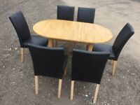 Solid Oak Table 6 X Chairs Faux Dark Brown Leather V.G.C. Free Delivey In Norwich,