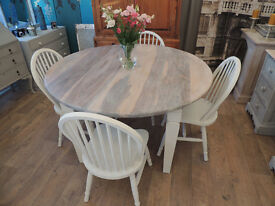 Shabby chic solid wood dining table and four chairs