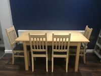 Dining table set oak - Extendable - 4 chairs