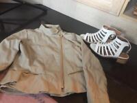 Girls fashionable biker jacket and sandals