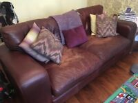Classic brown leather sofa