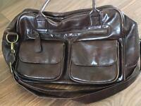 Koto leatherette baby changing bag with changing mat and a bottle warmer