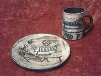 Vintage Pottery Norse Viking Ship Plate & Rune Sgraffito Design Mug