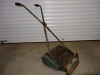 Very old style Webb Cylinder hand lawn mower with heavy roller