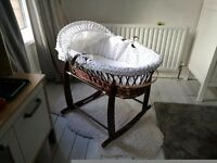 TRADITIONAL crib bassinet moses basket: Clair de la lune: fully restored crib on rocking stand
