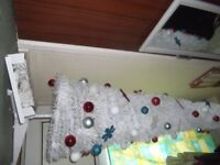 POP UP WHITE 6FT CHRISTMAS TREE,with lights and decorations,used once